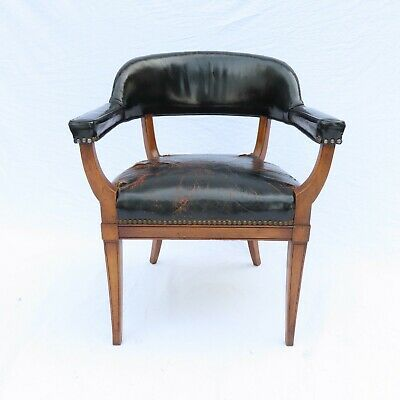 Antique French Empire Leather Armchair Biedermeier, Designer c1950 Library