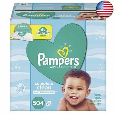 Pampers Baby Wipes Complete Clean Scented Refills 7  (7 Refill Packs, 504 Count)