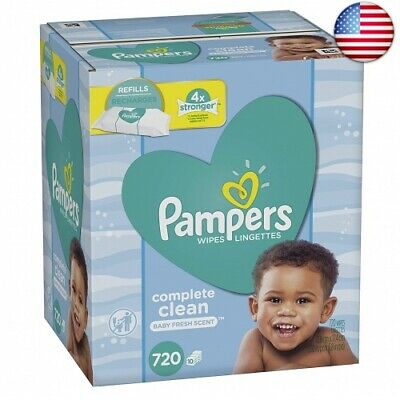 Pampers Baby Water Wipes Complete Clean Scent 10  (10 Refill Packs, 720 Count)