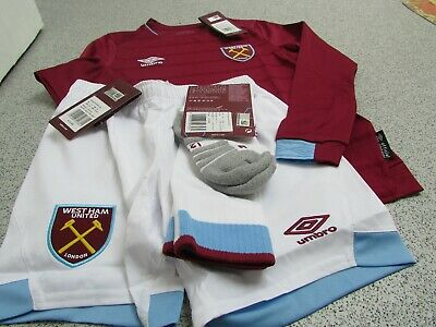 Umbro West Ham United Junior Kid's Home Full Kit 2018/19, Long Sleeved