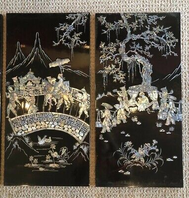 """4 Pc Set Vintage Asian Wall Panels Mother of Pearl Shell Art Lacquer 23"""" x 11.5"""""""