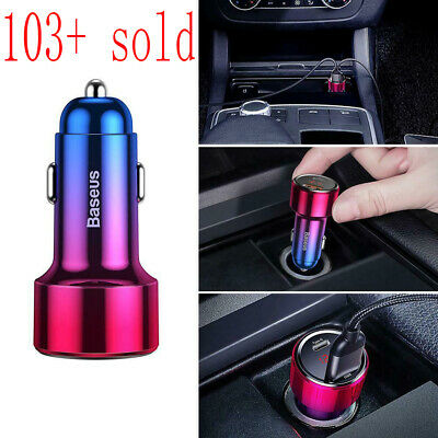 45W 24V Baseus Quick Charge 3.0 USB PD Type-C Car Charger PD Fast Phone Charging