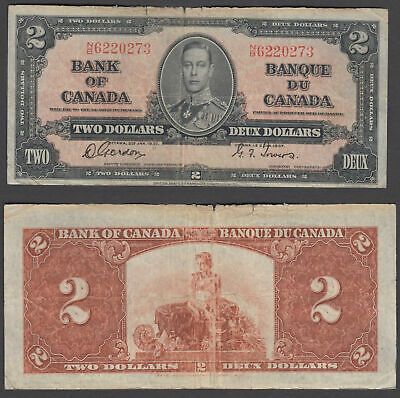 Canada 2 Dollars 1937 (F) Condition Banknote P-59 KGVI