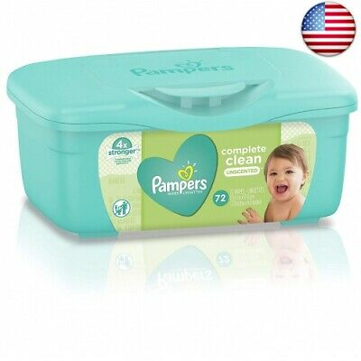 Pampers Baby Wipes Complete Clean Unscented Tub, 72 Count (Pack of 8)