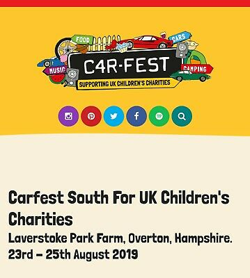 4 adult Carfest South 2019 Tickets Weekend Camping 23-25Aug £130 OFF FACE VALUE