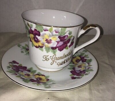 """Vintage Tea Cup and Saucer Set  Flowers """"TO GRANDMOTHER WITH LOVE"""" MA-90 Japan"""
