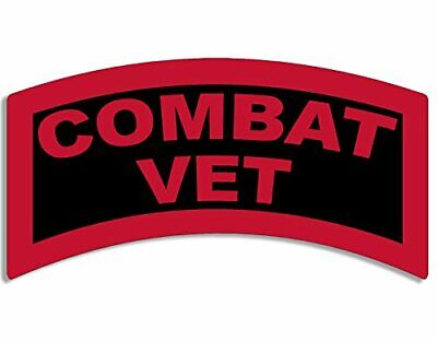 3x5 inch Red/Black Combat Vet Tab Shaped Sticker (Army gi us military veteran)