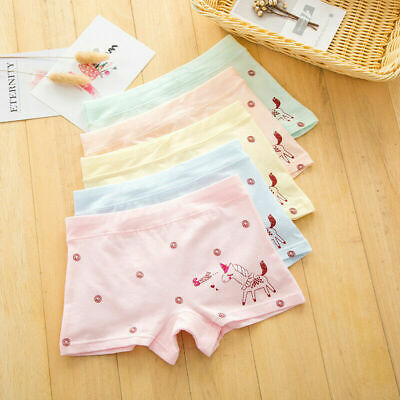 4 Pack Girls Boxer Shorts Underwear Briefs Cotton Soft Knickers Age 2-10 years