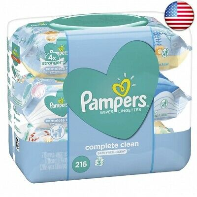 Pampers Baby Wipes Complete Clean Scented 3X Pop-Top Packs, 216 Count (Pack of