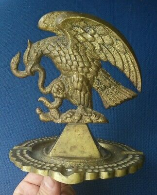 Antique Large  Heavy Solid Brass Mexico Coat Of Arms Emblem On Pyramid Ashtray