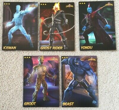 (5) Dave & Busters Marvel Champions Cards Groot Beast Ghost Rider Iceman Yondu