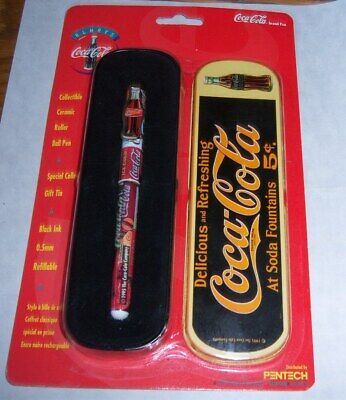 Coca-Cola Company Collectible Ceramic Roller Ball Pen+Gift Tin 1995 Pentech  NIP