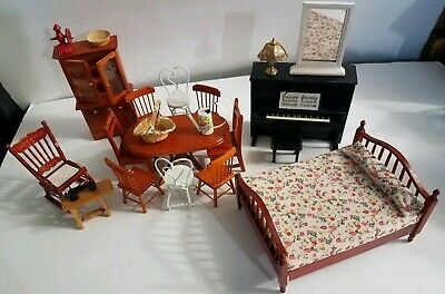 Vintage Dollhouse Furniture Table, Cabinet, Chairs, Bed, Piano, & Accessories