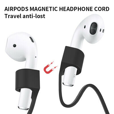 For Apple AirPods 2nd Wireless 1st Silicone Magnetic Black Earphone Rope Strap
