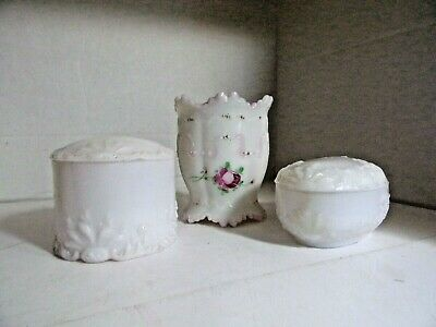 3 EAPG DITHRIDGE MILK GLASS  Trinket Boxes - Container Victorian