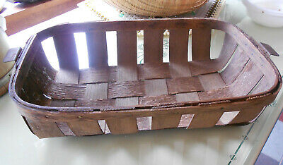 ANTIQUE Early Oak Splint Basket  Primitive Gathering Basket