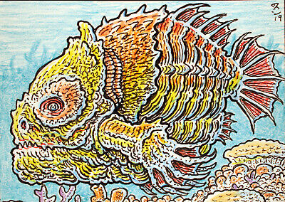 ACEO  Fantasy Original Yellow Headed Claw Fish