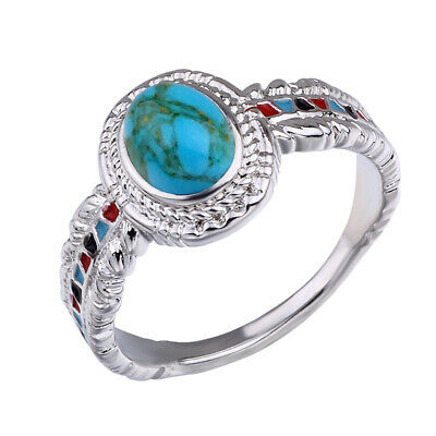 925 Silver Turquoise Eagle Feather Ring Women Vintage Wedding Finger Rings Gifts