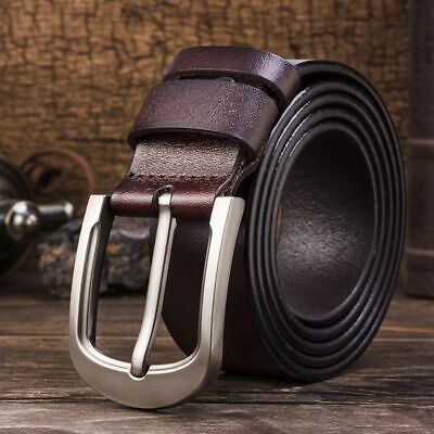 Men's Genuine Leather Belt Casual Buckle Waist Strap Smooth Cow Waistband Luxury