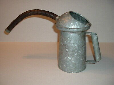 Vintage Galvanized Metal Oil Gas Can with Flexible Spout