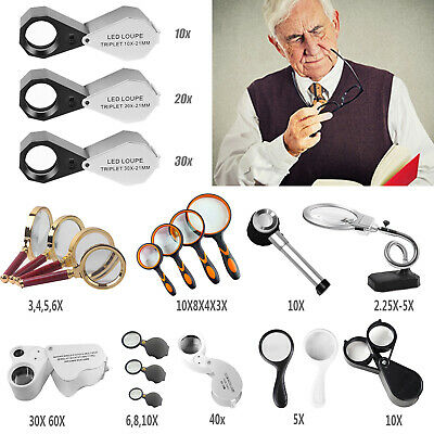 Pocket Jewellers Eye Loupe Magnifier LED Handy Jewelry Reading Magnifying Glass