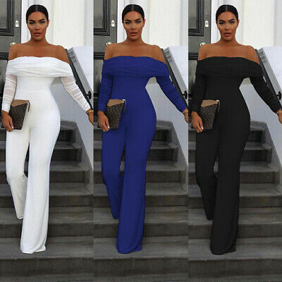 Women Off Shoulder Long Sleeve Jumpsuit Wide Leg Casual Club Party Long Trousers