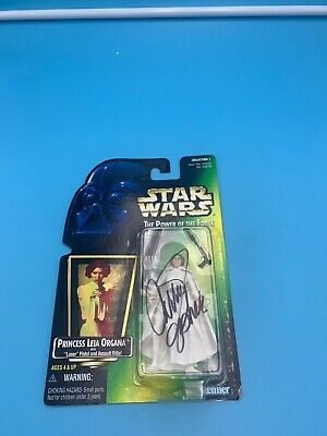 Carrie Fisher Autographed Princess Leia FigurePOWER OF THE FORCE AUTHENTIC
