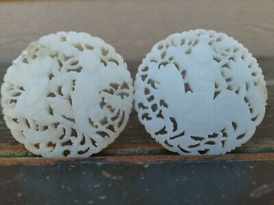 From Old Estate Chinese 6cm 2x Pair White Jade Two Buddhas Pendants  Asian China