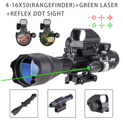 4-16x50 Tactical Rifle Scope Red/Green Illuminated Dot Sight  Green Laser Pinty