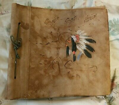 Vintage Hand painted Leather bound Scrapbook ~ Never Used ~ New Old Stock