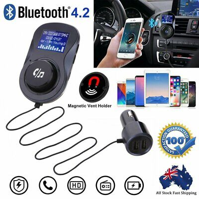 Auto Hands Free Bluetooth Wireless Car AUX Audio Receiver FM Adapter USB Charger