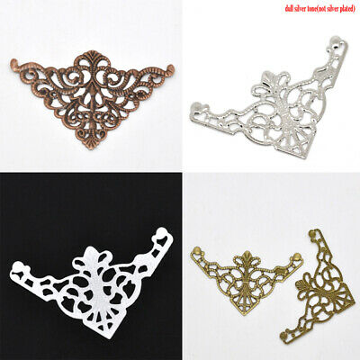 Filigree Stamping Embellishments Findings Vintage Triangle Flower Hollow Pattern