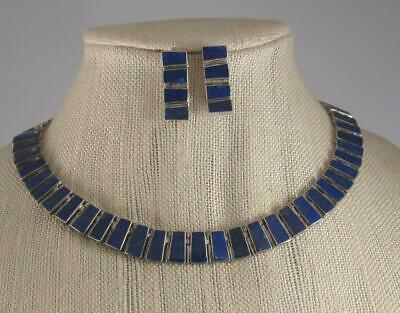 Mussio South American Sterling Silver Lapis Necklace & Earring Set