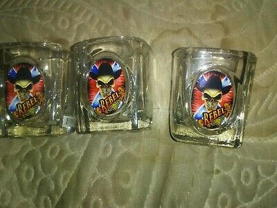 Lot Of 3 Heavy Square Shot Glasses With A Picture Of A Skull In The Word...