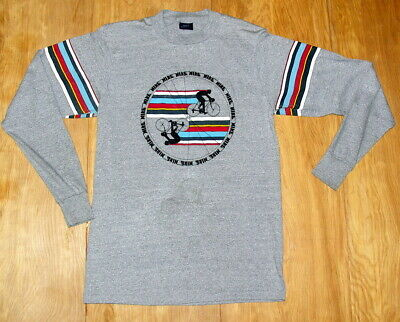 7cf5f08149c82 VINTAGE '80S NIKE logo t-shirt bicycle racing print Blue Tag sz Med Made in  USA