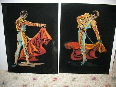 Pair Mid Century Paint By Number on Velvet Matador Bull Fighters 12'' x 16''