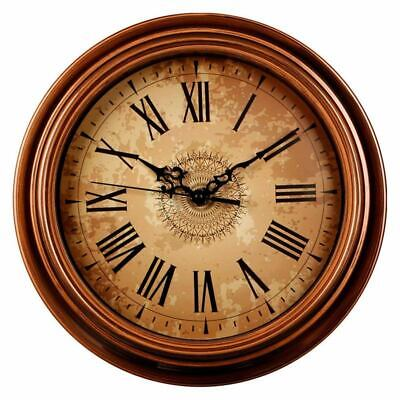 2X(12-inch Silent Non-Ticking Round Wall Clocks,Decorative Vintage Style Ro F8V7