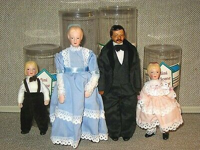 1:12 Scale Dollhouse Family 4 Dolls ~ Porcelain with Soft Poseable Bodies