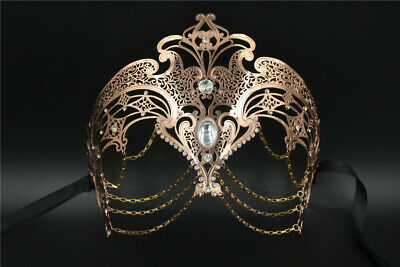 Rose Gold Goddess Masquerade Mask with Chains Venetian Metal Mask with Crystals