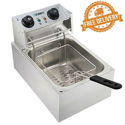 DEVANTI Silver Commercial Electric Single Deep Fryer Cooker Stainless Steel -NEW