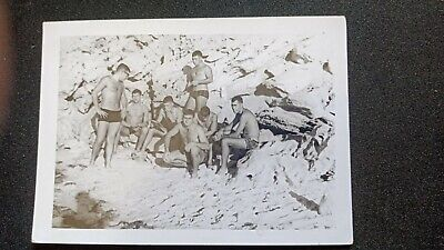 Vintage 60s Photo Army Male men Soldiers Bathing Trunks Gay Interest Semi Nude