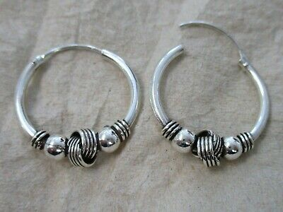 REAL 925 sterling silver 20mm Oxidised Knot & Ball THAI sleepers hoop earrings