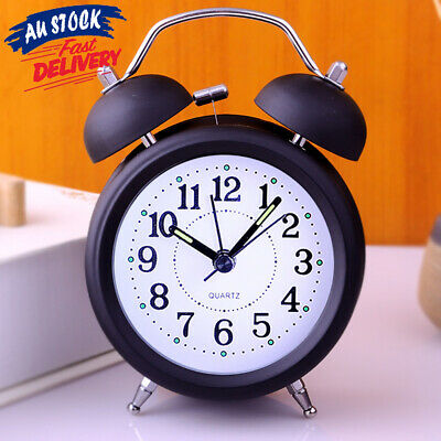 Twin Bell Bedside Analogue Alarm Clock Vintage Retro Desk Loud Clocks Battery