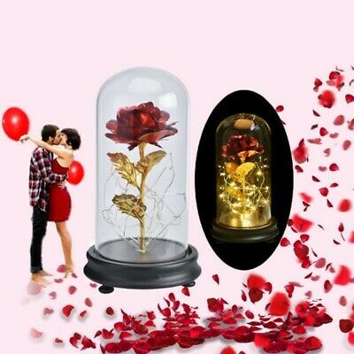 Beauty And The Beast 24k Gold Plated Forever Rose Dip Led Light glass Dome Gifts