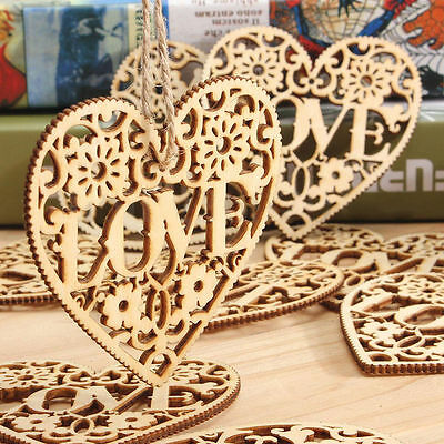 10PCS Wooden Shape Love Heart Wedding Hanging Decoration Craft Embellishment  FE