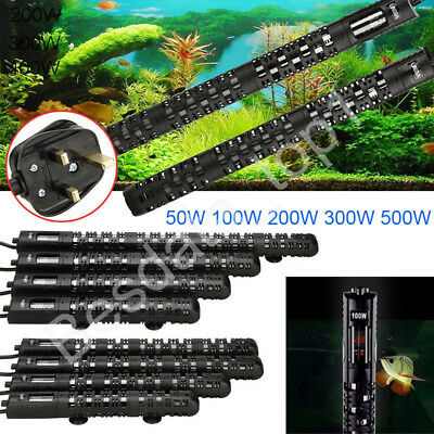 Submersible Aquarium Heater 100W 300W 500W Fish Tank Thermostat UK Plug