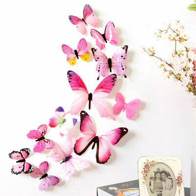 12Pcs/Set 3D Butterfly Background Wall stickers DIY Kids Room Living Room Decor*