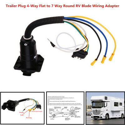 Trailer Plug 4-Way Flat to 7 Way Round RV Camper Blade Wiring Adapter Hitch Tool