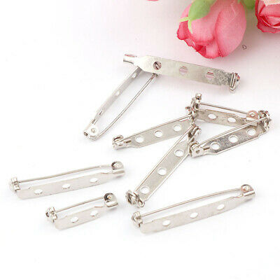 White iron plated brooch base back bar badge holder safety lock pin DIY jewelry
