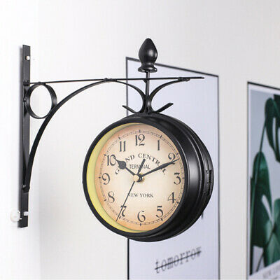 Wall Mounted Station Clock Double Sided Round Garden Vintage Home Decor C0N4Y